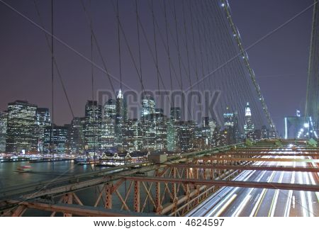 New York Brooklyn Bridge At Night