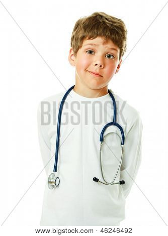 A little smiling doctor with stethoscope - isolated on white background