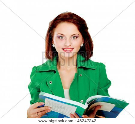 A beautiful woman with books standing isolated on white background