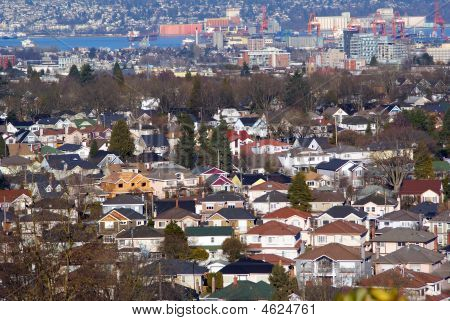 Residential Neighborhood In Vancouver With Burrard Inlet
