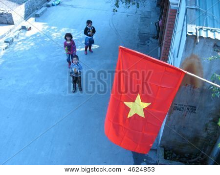 Vietnamese Flag And Children