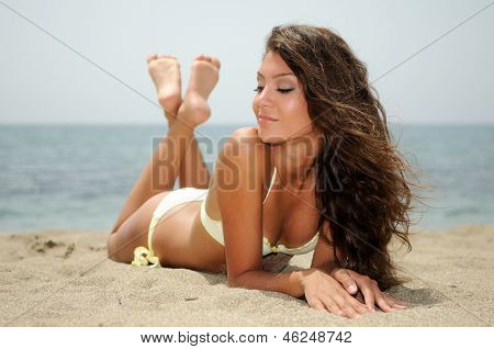 Woman With Beautiful Body On A Tropical Beach poster