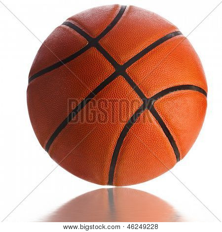 Old Basketball ball detail leather isolated on a white background