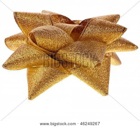 gift shining golden ribbon bow isolated on white background