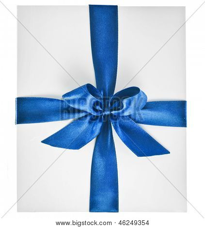 paper bag pack wrap tied color ribbon bow  isolated on white background