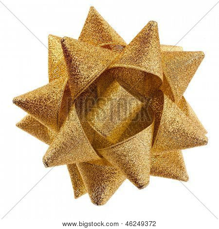 gift shining golden ribbon bow isolated on white background
