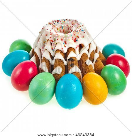 easter bread cake and colored egg isolated on white background