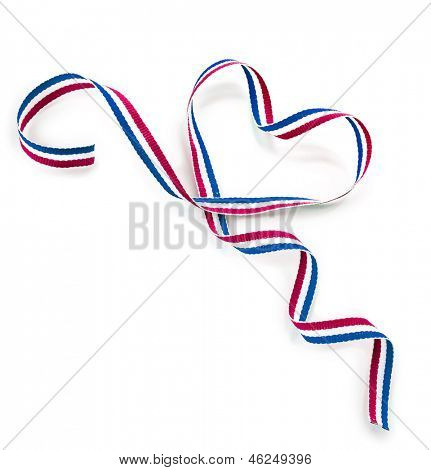 Colors Ribbon Tape Shape Heart Valentine's Day Card close up isolated on white background