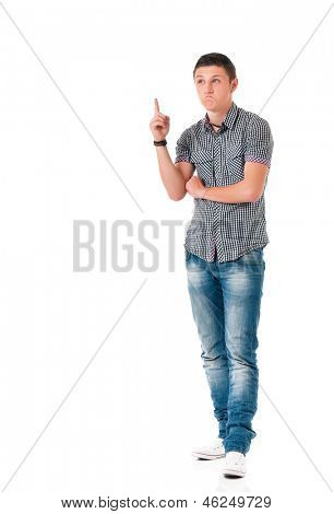 Successful young businessman in shirt showing something, isolated on white background