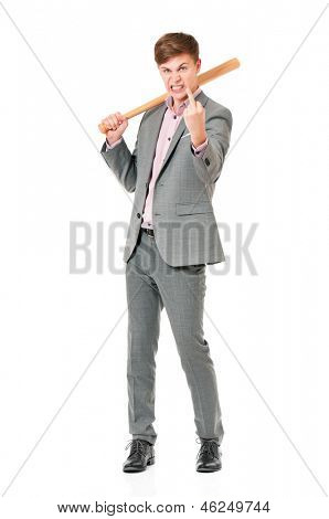 Anger man in suit with wooden baseball bat, isolated on white background