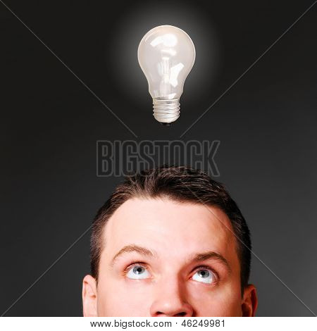 male head with bulb, idea concept