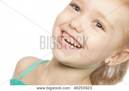 cute laughing girl over white background