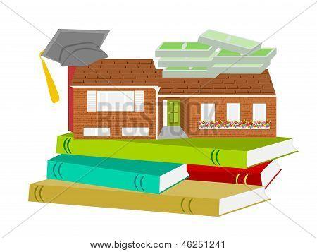 sombrero de graduación de casa con el libro y el dinero