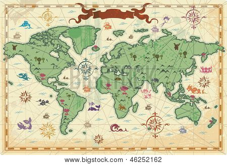 Colorful Ancient World Map poster