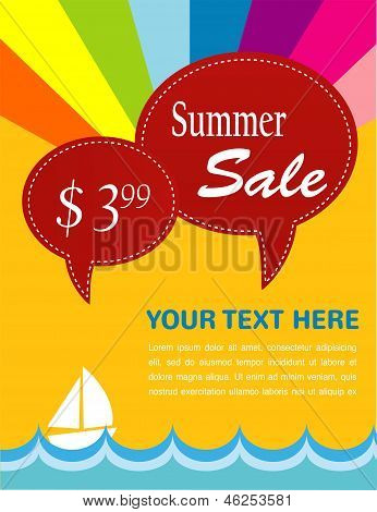 summer sale; yacht and sea with pice tags