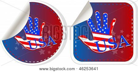 Set Of Usa Stickers Label Tag
