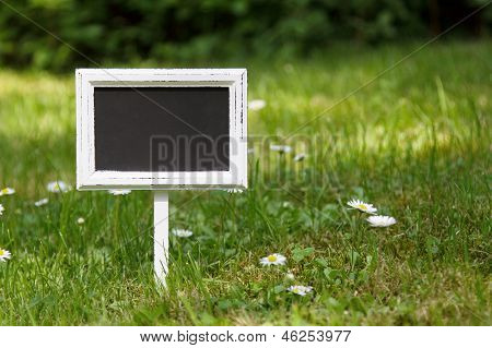 Blank Signboard In The Meadow Straight View