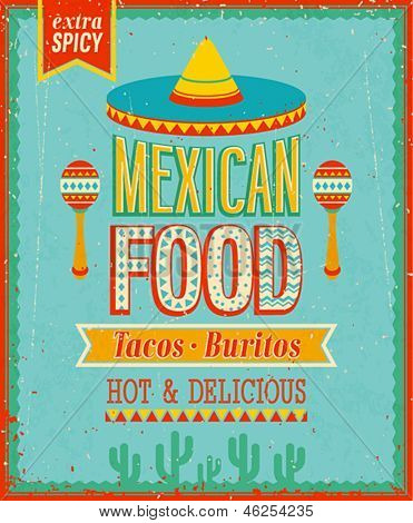 Vintage Mexican Food Poster. Vector illustration.