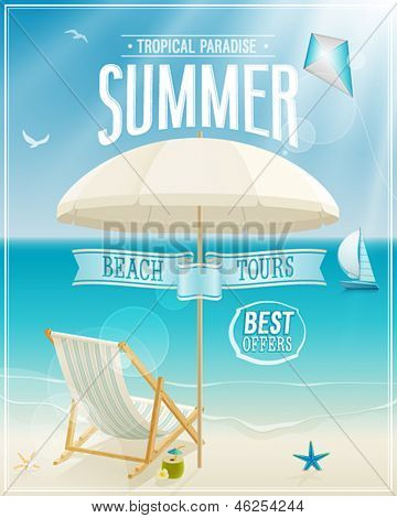 Summer tropical poster. Vector background.