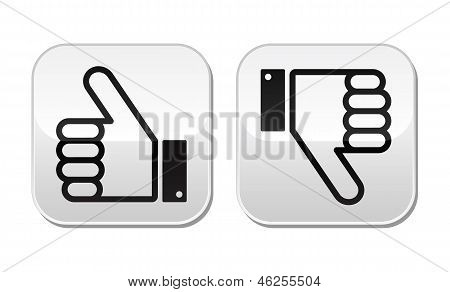 Thumb up and down buttons set - social media