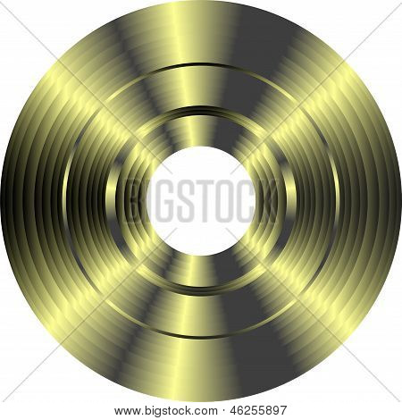 Gold Vinyl Record Isolated On White Background