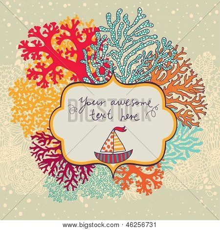 Beautiful coral reef background with place for your text. Vector marine live illustration with cute ship.