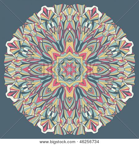 Ornamental round lace pattern, circle background with many details, looks like crocheting handmade lace on grunge background, lacy arabesque designs. Orient traditional ornament. Oriental motif