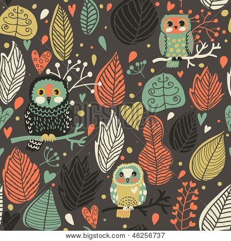Seamless texture with cute owls and leafs in the night. Endless floral pattern. You can use it in textile design, greeting cards, graphic design.