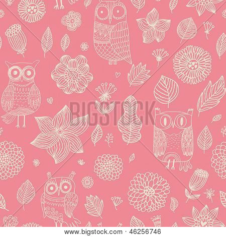 Romantic floral seamless pattern with cute owls and vintage flowers. Vector spring background can be used for wallpapers, pattern fills, web page backgrounds, surface textures.
