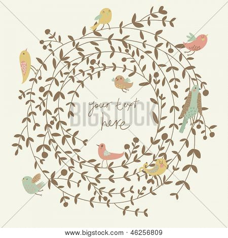 Stylish floral card in vector. Spring wallpaper with cute birds. Ideal for wedding invitation. Save the date card. Romantic wreath with place for your text