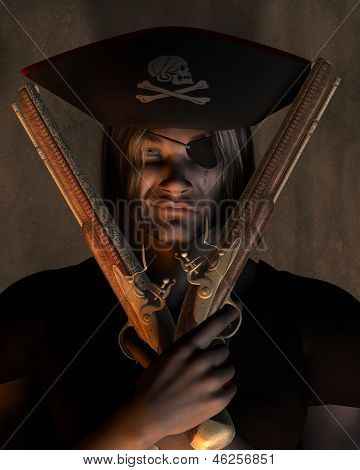 Pirate Captain with Pistols