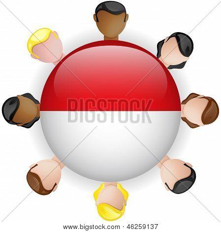 Monaco Flag Button Teamwork People Group