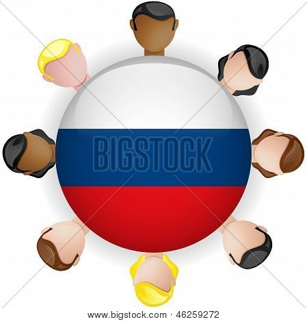Russia Flag Button Teamwork People Group