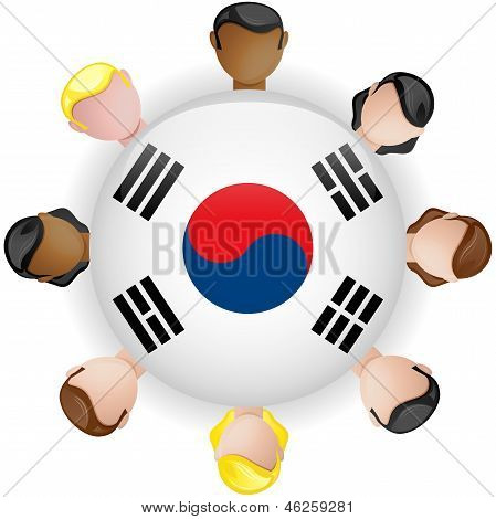 South Korea Flag Button Teamwork People Group