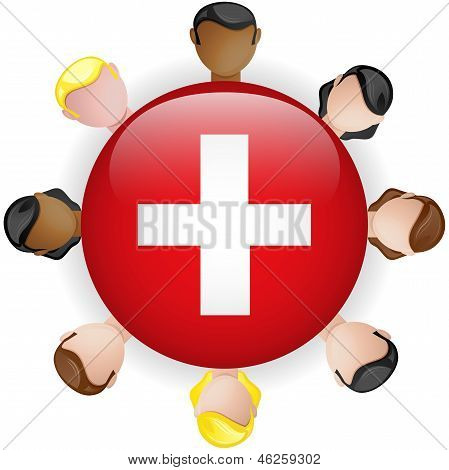 Switzerland Flag Button Teamwork People Group