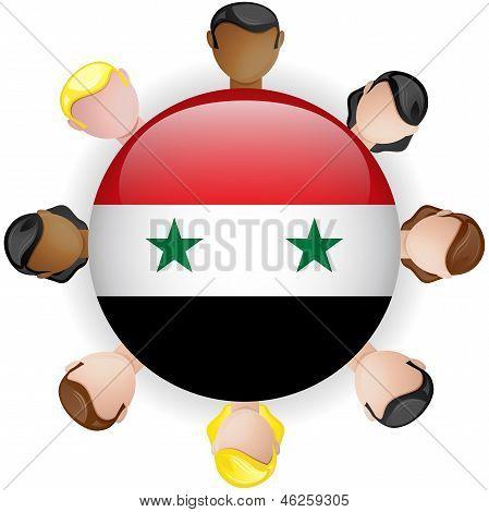 Syria Flag Button Teamwork People Group