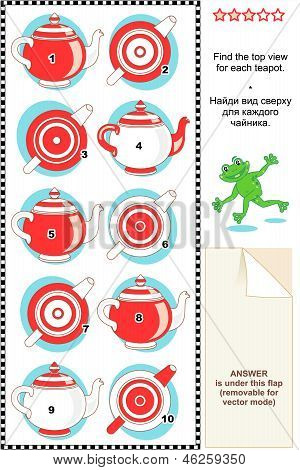 Visual math puzzle - find the top view for each teapot
