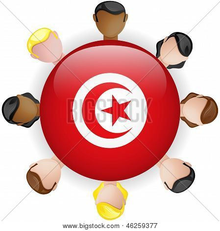 Tunisia Flag Button Teamwork People Group