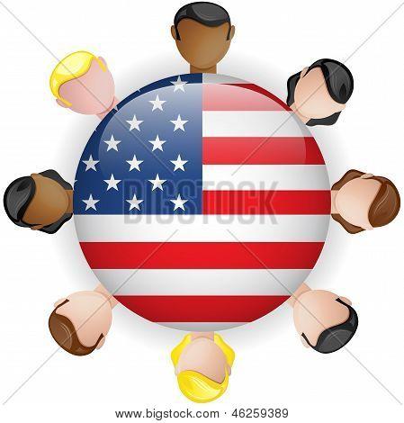 Usa Flag Button Teamwork People Group