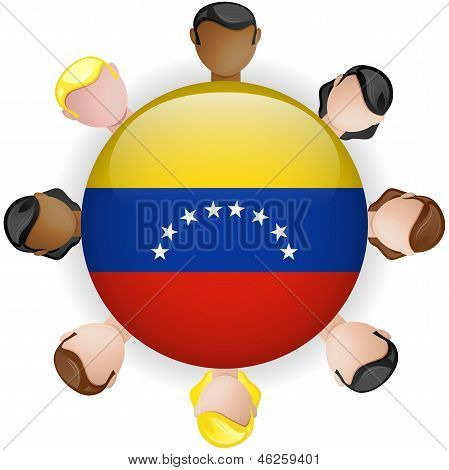 Venezuela Flag Button Teamwork People Group