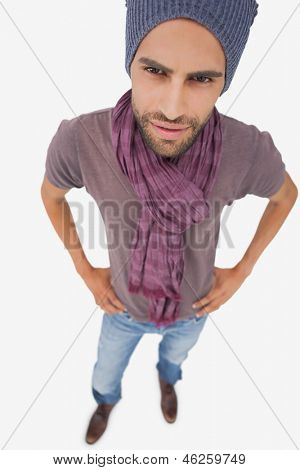 High angle view of stylish young man on white background