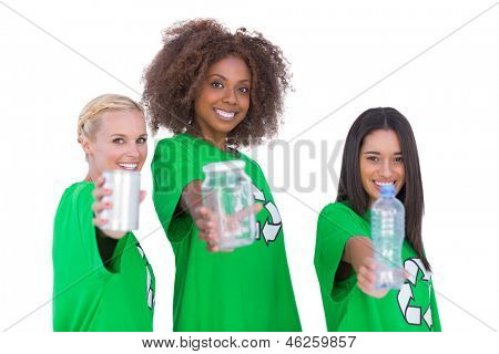 Three smiling environmental showing recyclable matierials on white background