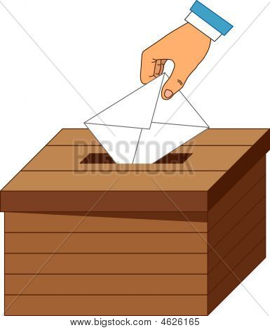 Wooden Ballot Box With A Vote Letter