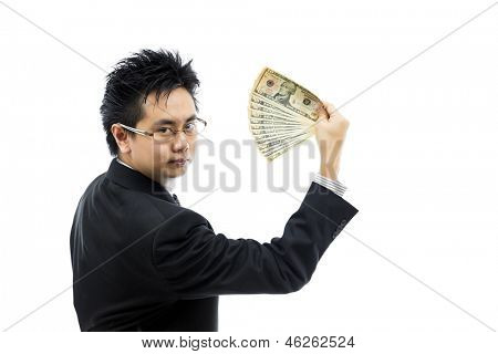 Businessman holding money isolated over white background