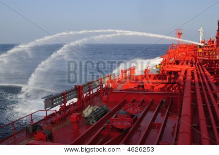 Tanker Crude Oil Carrier Ship During Fire Drill Exercises