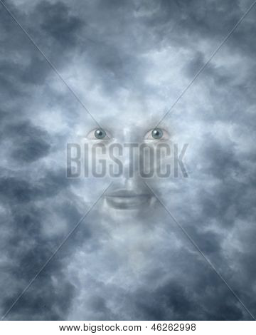 Spiritual Faces Peering Through Clouds