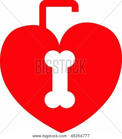 Red heart shaped lock with a bone shaped keyhole