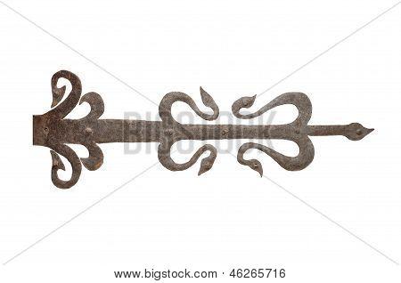 old wrought iron door hinge