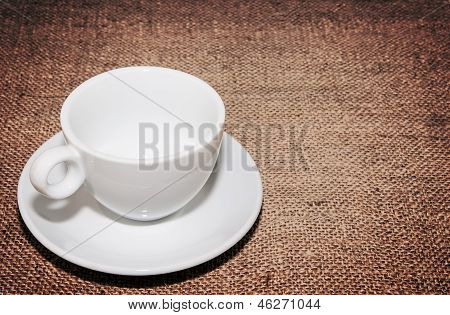 Empty White Cup On Bagging