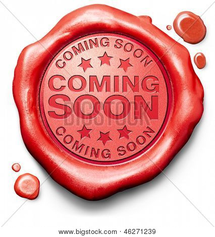 coming soon brand new product release next up promotion and announce red label icon or stamp